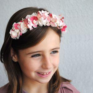 Diadema de flores preservadas para niña
