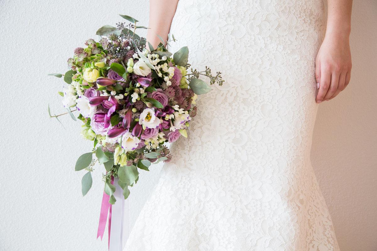 Ramo de novia rosa y lila