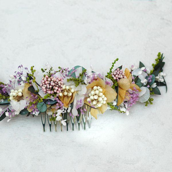 Semicorona de flores preservadas para novia o invitada